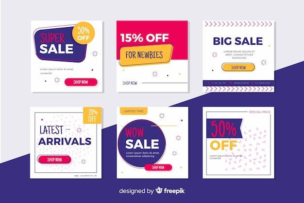 Colección de banners de promoción de rebajas para redes sociales