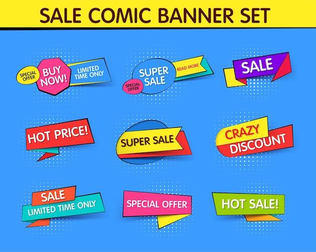 Colección de banners de promoción en venta y descuentos en estilo pop art.