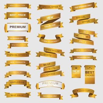 Colección de banners promocionales premium dorados.