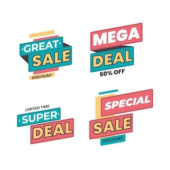 Colección de banners promocionales de venta y descuento