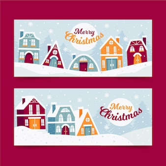 Colección de banners de pueblo navideño en diseño plano