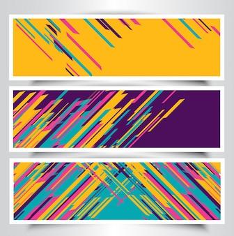 Colección de banners con rayas coloridas
