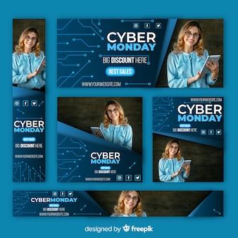Colección de banners de rebajas de cyber monday