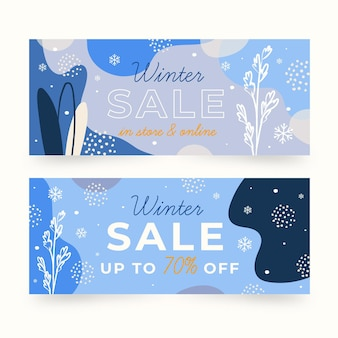 Colección de banners de rebajas de invierno con elementos dibujados