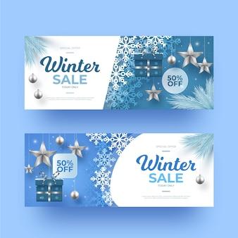 Colección de banners de rebajas de invierno realistas