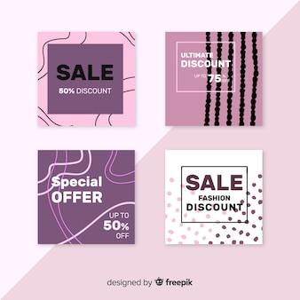 Colección de banners de rebajas de moda para redes sociales