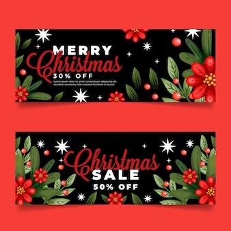 Colección de banners de rebajas de navidad en acuarela