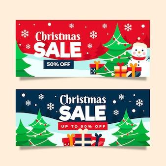 Colección de banners de rebajas de navidad en diseño plano