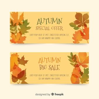 Colección de banners de rebajas de otoño en acuarela