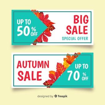 Colección de banners de rebajas de otoño dibujados a mano