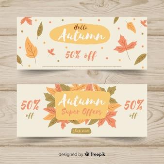Colección de banners de rebajas de otoño en diseño plano