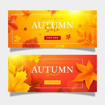 Colección de banners de rebajas de otoño