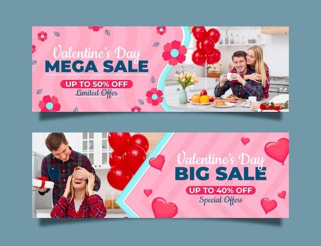 Colección de banners de rebajas de san valentín