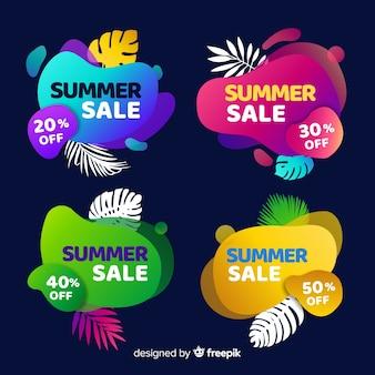 Colección banners rebajas de verano coloridos líquidos