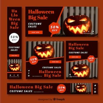 Colección de banners de rebajas web de halloween con foto