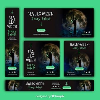 Colección de banners de rebajas web de halloween con imagen