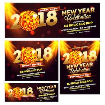 Colección de banners de redes sociales para las celebraciones del año nuevo 2018.