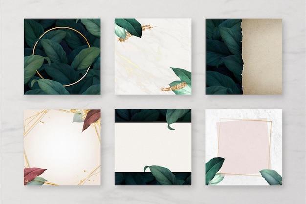 Colección de banners de redes sociales leaf