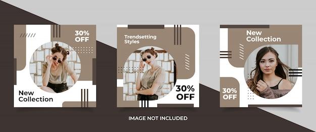 Colección de banners de redes sociales de moda