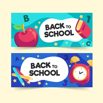 Colección de banners de regreso a la escuela en diseño plano