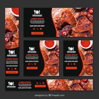 Colección de banners de restaurante asador con fotos