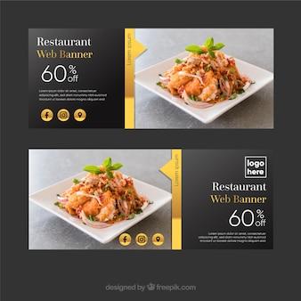 Colección de banners de restaurante elegante con fotos