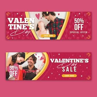 Colección de banners de san valentín con foto.