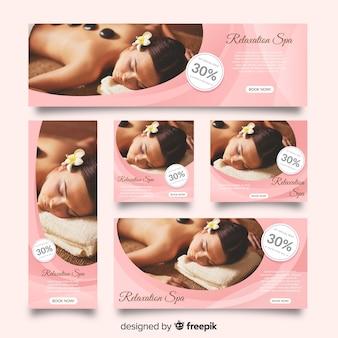 Colección de banners de spa con fotografía