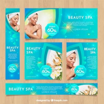 Colección de banners de spa con fotografías