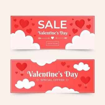 Colección de banners de venta del día de san valentín