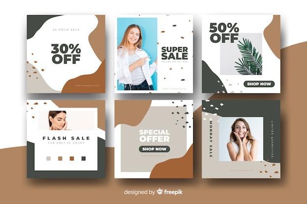 Colección de banners de venta modernos para redes sociales.