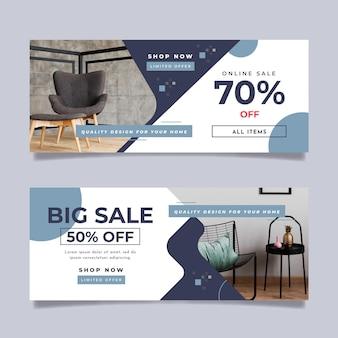 Colección de banners de venta de muebles con foto.
