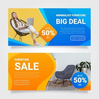 Colección de banners de venta de muebles con imagen.