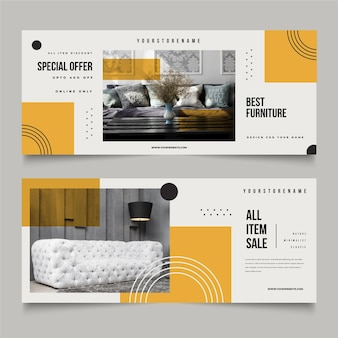Colección de banners de venta de muebles con plantilla de foto.