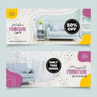 Colección de banners de venta de muebles con plantilla de imagen.