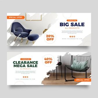 Colección de banners de venta de muebles.