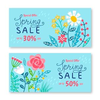 Colección de banners de venta de primavera dibujados a mano