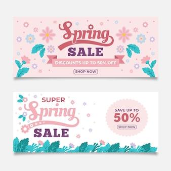 Colección de banners de venta de primavera de diseño plano