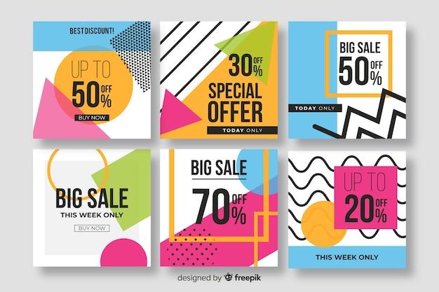 Colección de banners de venta para redes sociales.
