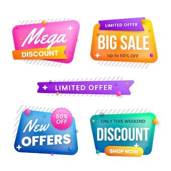 Colección de banners de venta en varias formas de burbuja