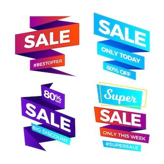 Colección de banners de ventas de cinta de degradado