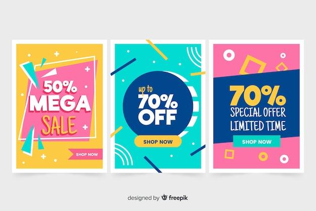 Colección de banners de ventas en estilo memphis