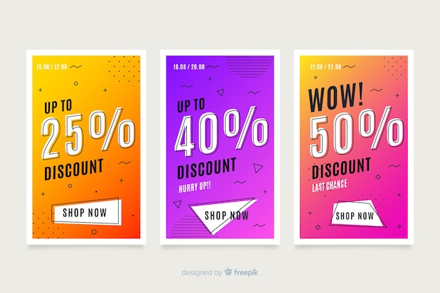 Colección de banners de ventas de memphis