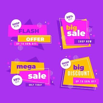 Colección de banners de ventas de ofertas flash