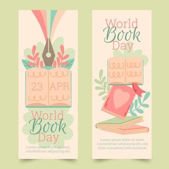 Colección de banners verticales del día mundial del libro dibujados a mano