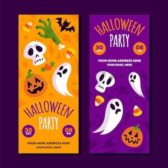 Colección de banners verticales de halloween