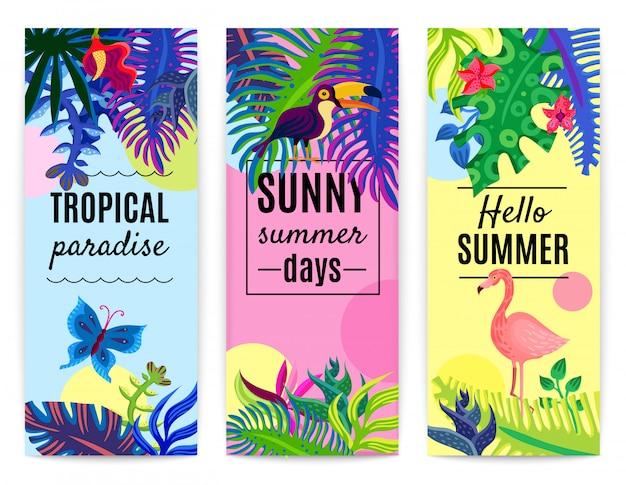 Colección de banners verticales del paraíso tropical