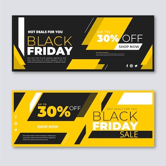 Colección de banners de viernes negro en diseño plano
