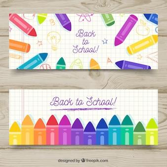 Colección de banners de vuelta al colegio con lápices de colores