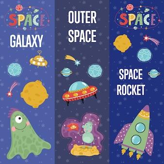 Colección de banners web de dibujos animados de tema espacial